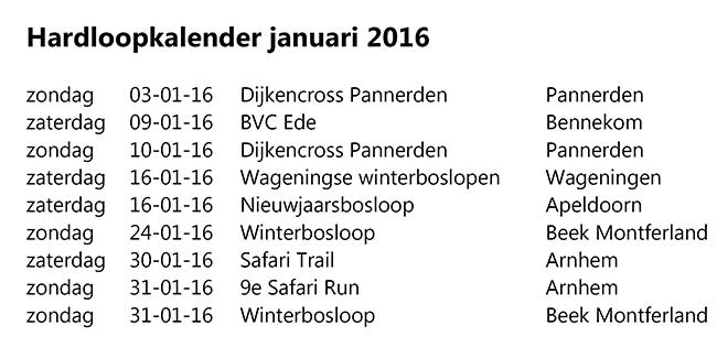 hardloopkalender januari